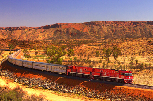 ghan train australia desert