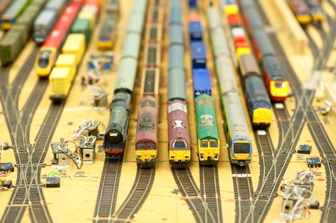 N scale trains on yard track